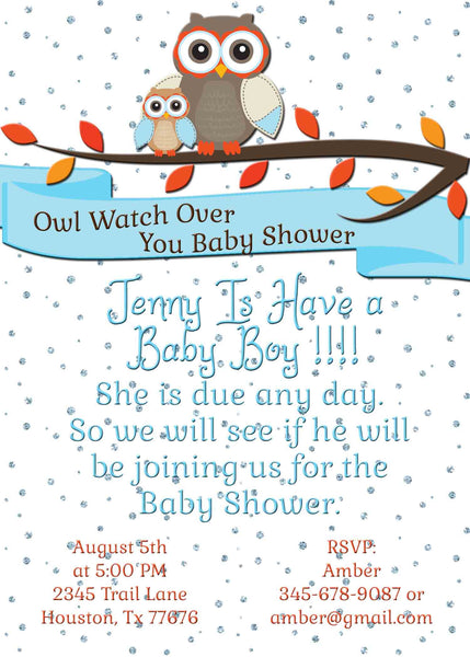 Owl Protect You Baby Shower Floating Crystals Baby Might Be Here Invitation - Custom Printable