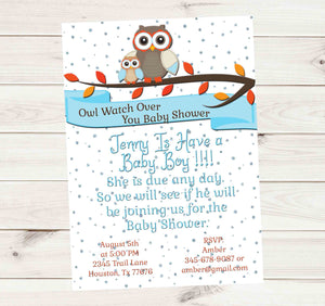 Owl Protect You Baby Shower Floating Crystals Baby Might Be Here Invitation - Custom Printable - Invites and Delites