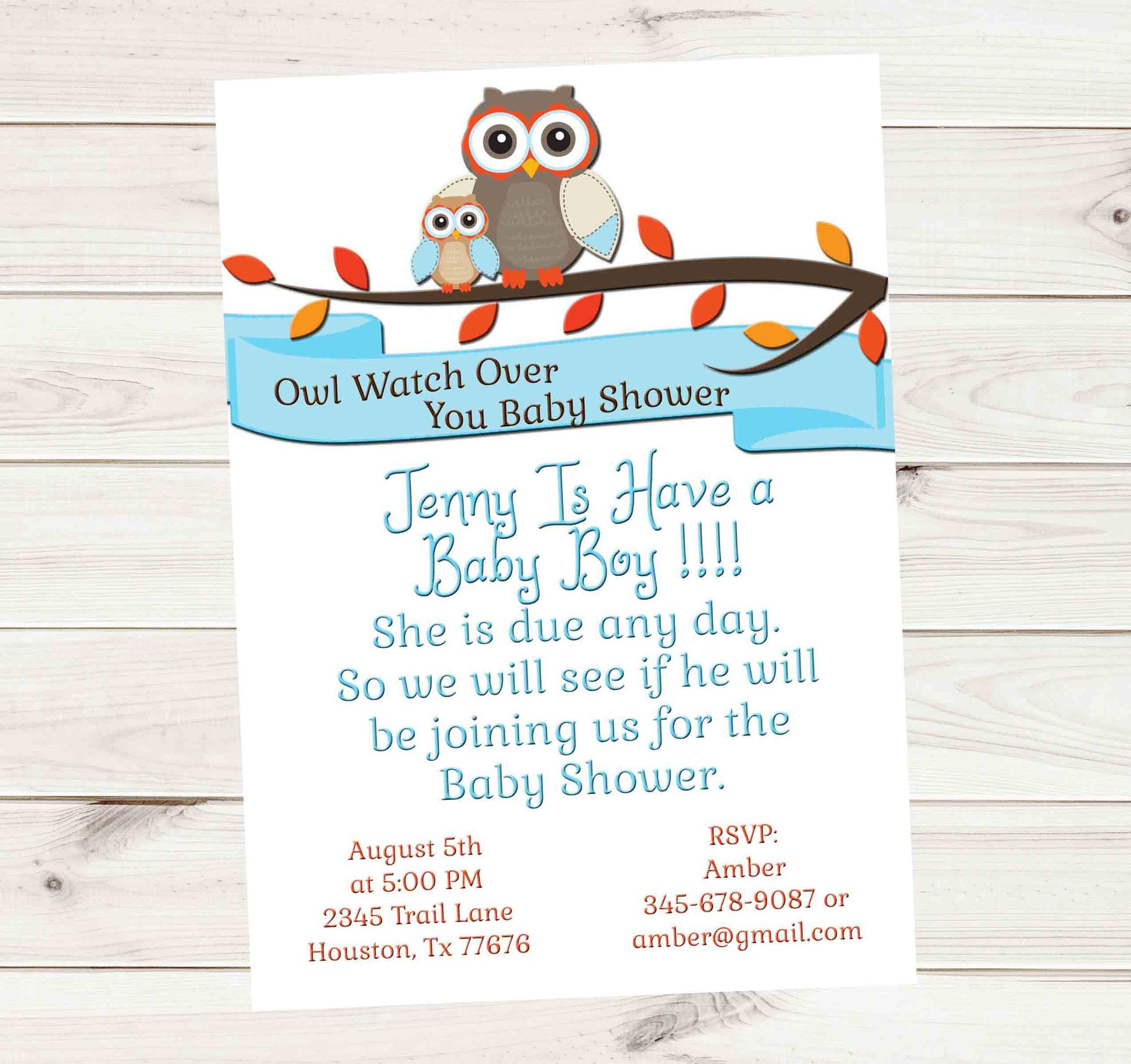 Owl Protect You Baby Shower Baby Might Be Here Invitation in White - Custom Printable - Invites and Delites