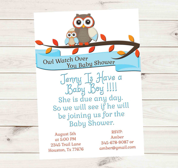 Owl Protect You Baby Shower Baby Might Be Here Invitation in White - Custom Printable