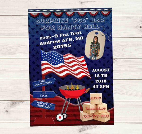 PCS Military BarBQue BBQ with photo Dog Tags Invitation - Custom Printable - Invites and Delites