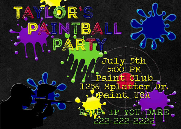 Paintball Party Dark Chalkboard Multi Color Paint Birthday Invitation - Custom Order - Invites and Delites