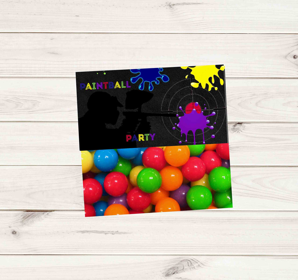 Paintball Party Dark Chalkboard Multi Color Paint Gun Treat Bag Topper - Instant Download