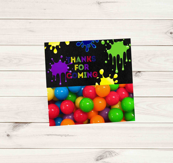 Paintball Party Dark Chalkboard Multi Color Paint Treat Bag Topper - Instant Download - Invites and Delites