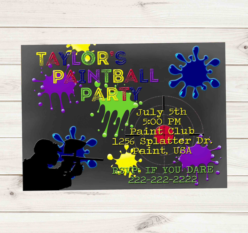Paintball Party Light Grey Chalkboard Multi Color Paint  Birthday Invitation - Custom Order - Invites and Delites