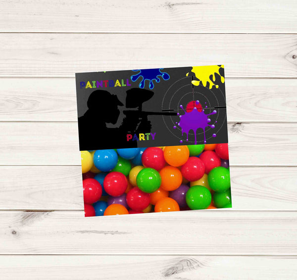 Paintball Party Light Grey Chalkboard Multi Color Paint Treat Bag Topper - Instant Download - Invites and Delites