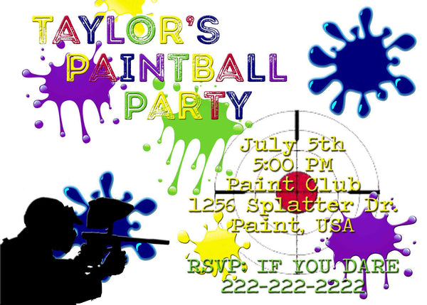 Paintball Party White Multi Color Paint Gun Birthday Invitation - Custom Order