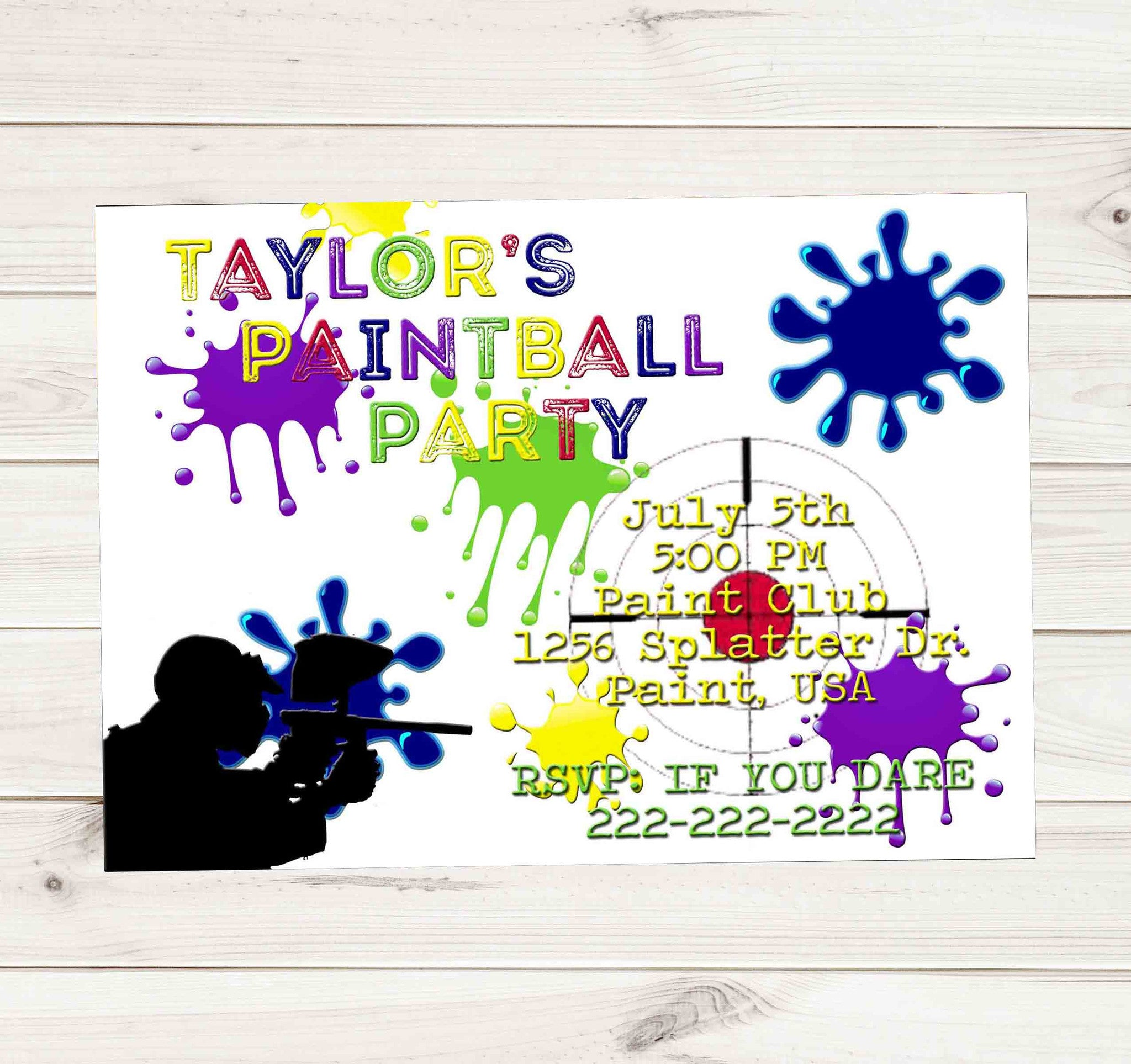 Paintball Party White Multi Color Paint Gun Birthday Invitation - Custom Order - Invites and Delites