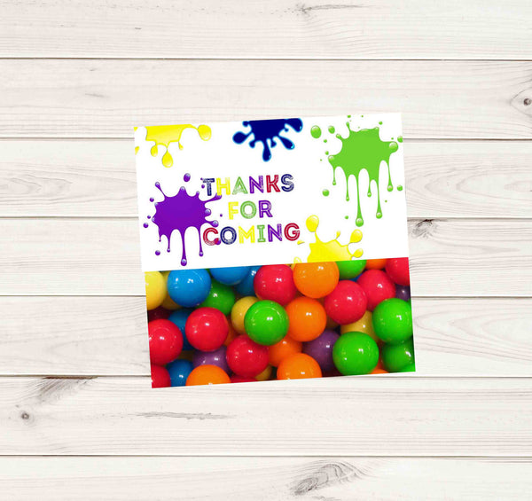 Paintball Party White Multi Color Paint Gun Treat Bag Topper - Instant Download