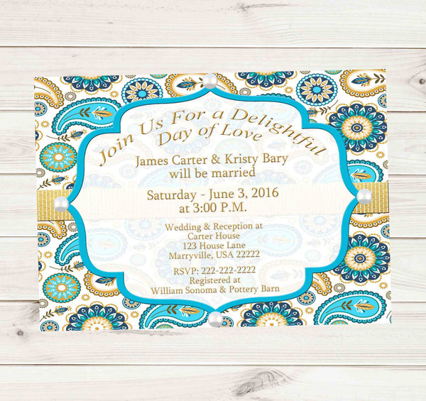 Turquoise and Gold Paisley Pearl Wedding Invitation - Custom Printable - Invites and Delites