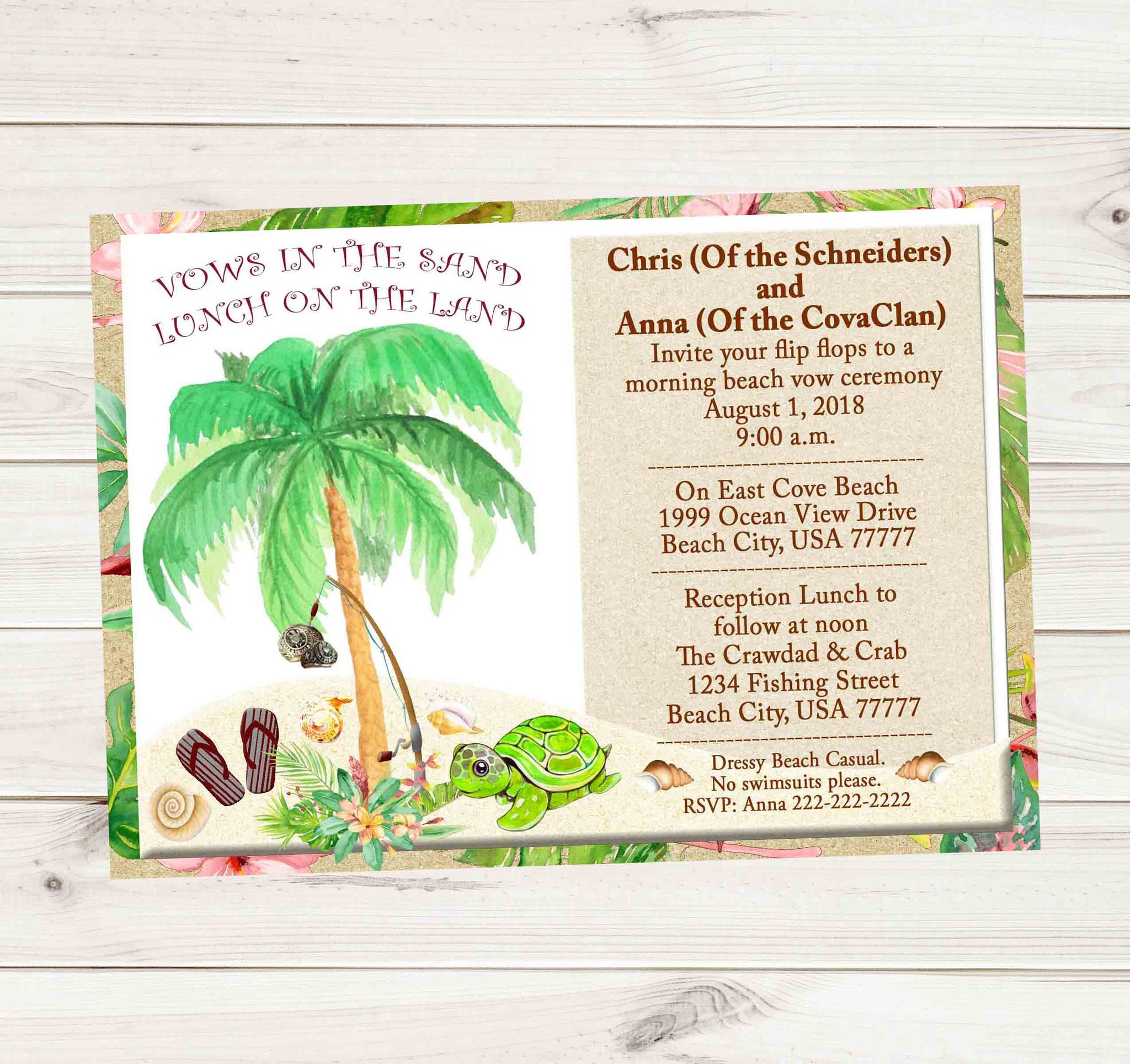 Tropical Beach Palm Tree Fishing Sea Turtles & Sea Shell Wedding Invitation - Custom Printable - Invites and Delites