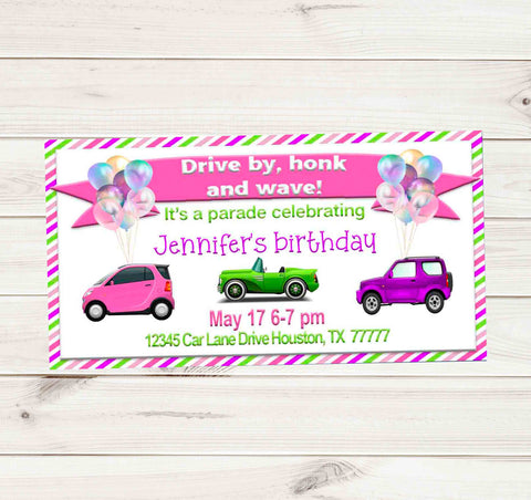 Girly Striped Car Drive By Birthday Party Parade Facebook Invites
