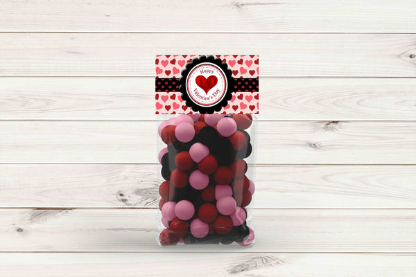 "Valentine's Day Red and Pink Hearts Ribbon Gift Bag Toppers 4"" x 2 "" - Instant Printable"