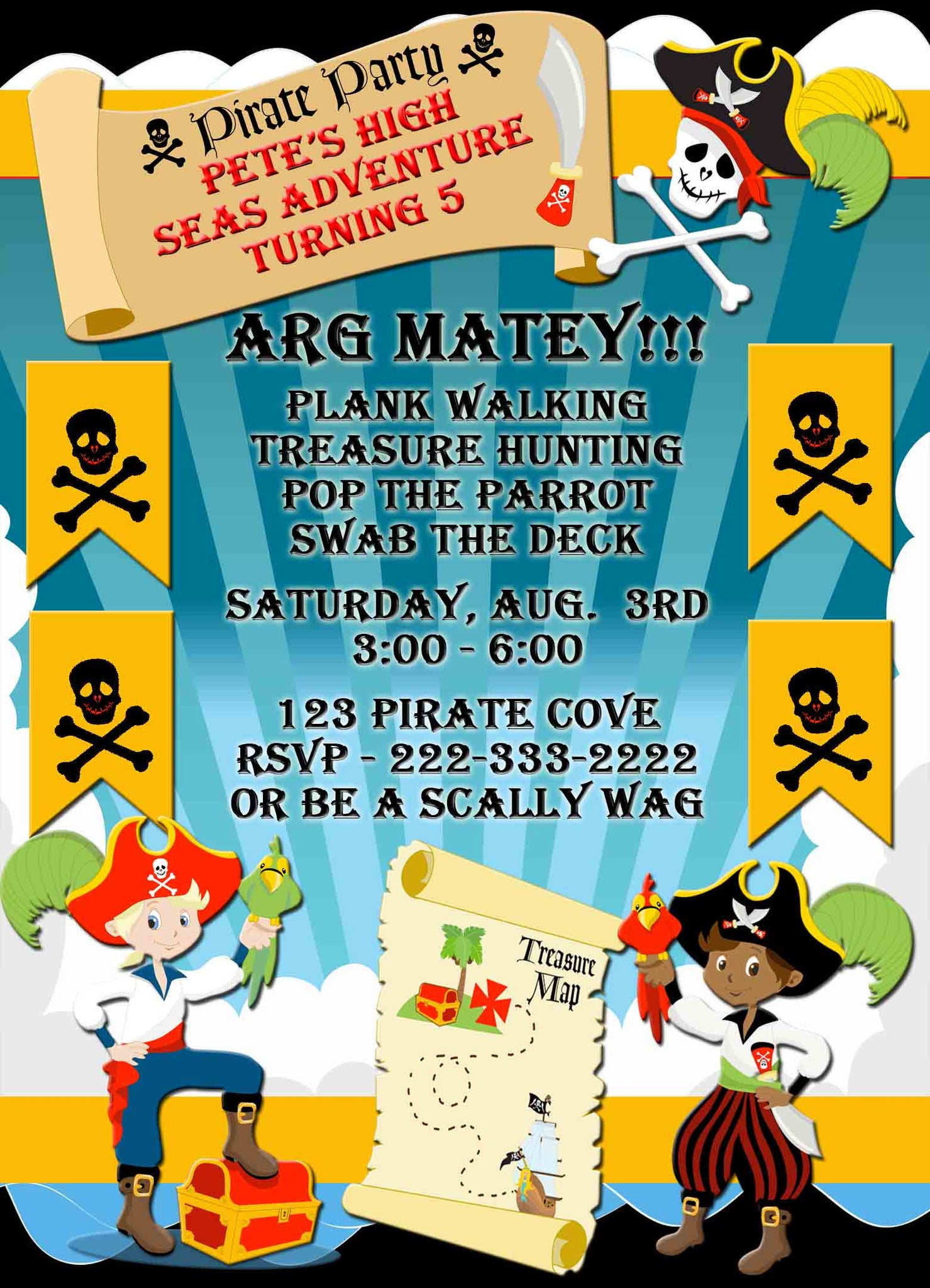 Pirate Party for Boys Walk The Plank Birthday Invitation - Custom Printable - Invites and Delites