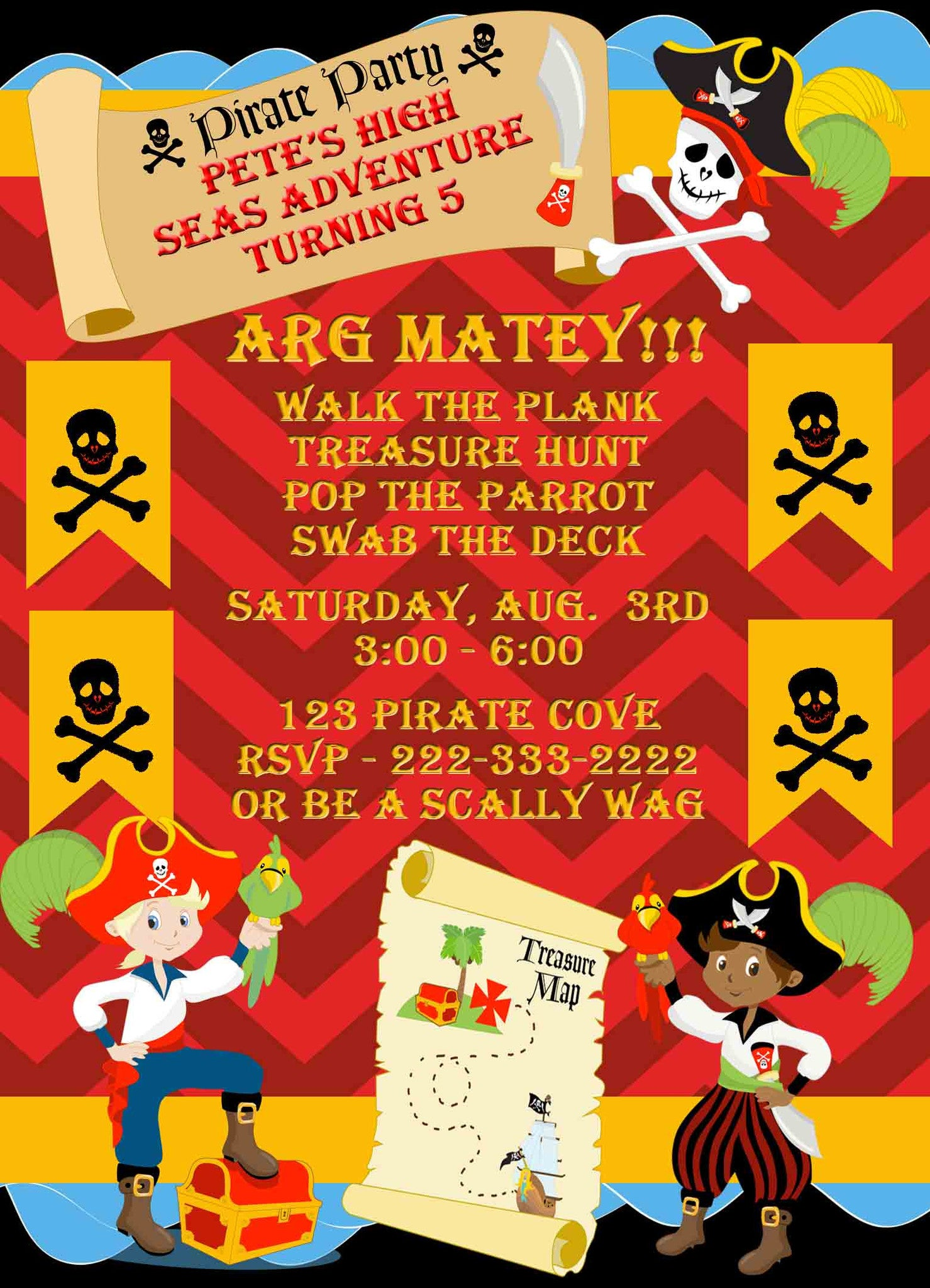 Pirate Party for Boys Walk The Plank Treasure Map Birthday Invitation - Custom Printable - Invites and Delites