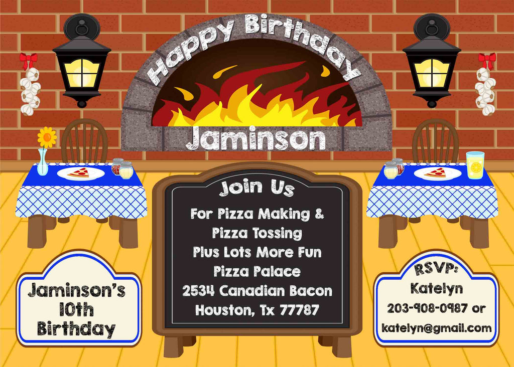 Pizza Party Restaurant Chalkboard Blue Golden Floor Birthday Party Invitation - Custom Order - Invites and Delites