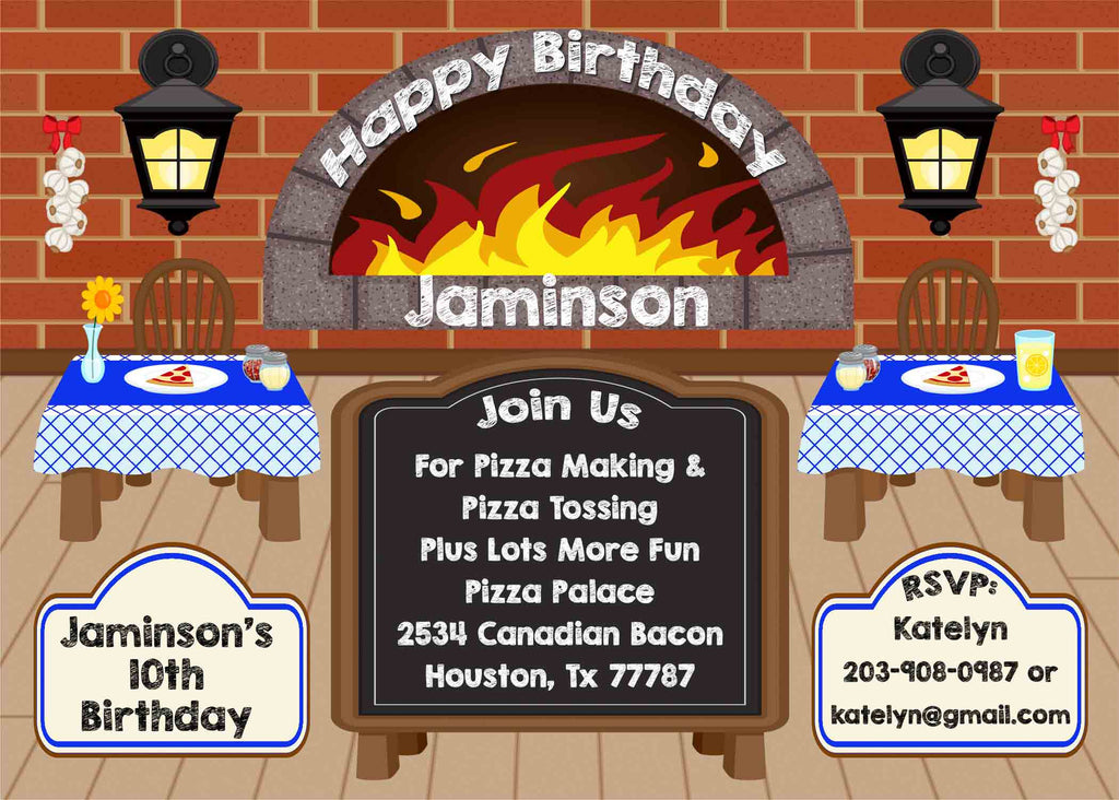 Pizza Party Restaurant Chalkboard Blue Tan Floor Birthday Party Invitation - Custom Order - Invites and Delites