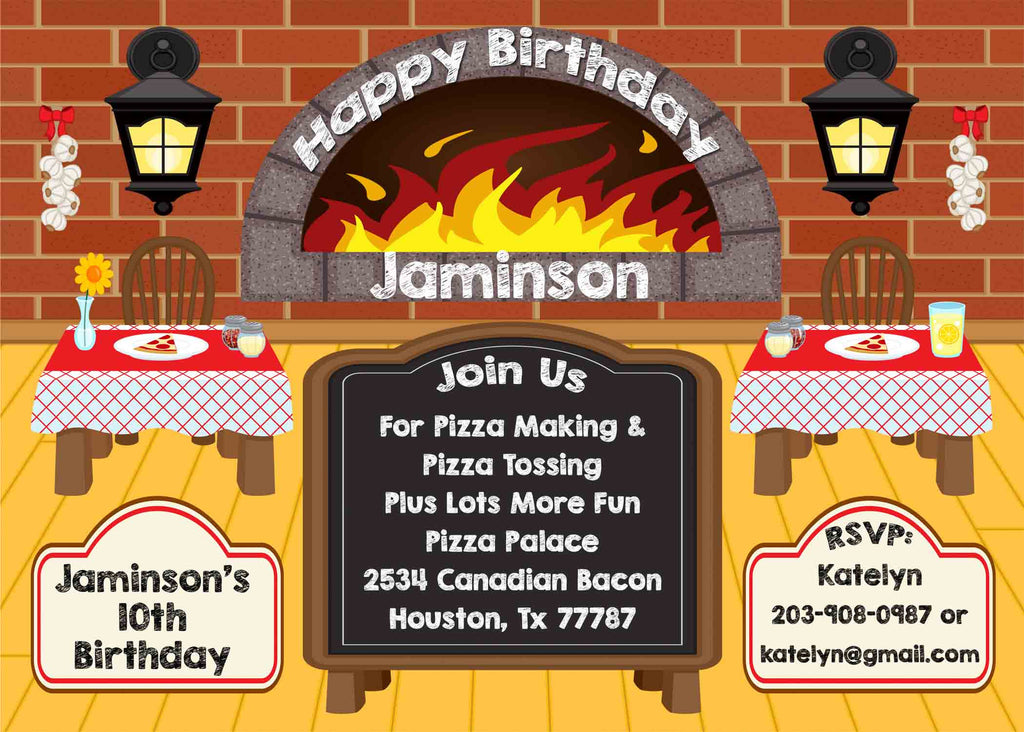 Pizza Party Pizzaria Chalkboard Golden Floor Birthday Party Invitation - Custom Order