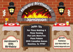 Pizza Party Restaurant Style Pizzaria Chalkboard Tan Floor Birthday Party Invitation - Custom Order - Invites and Delites