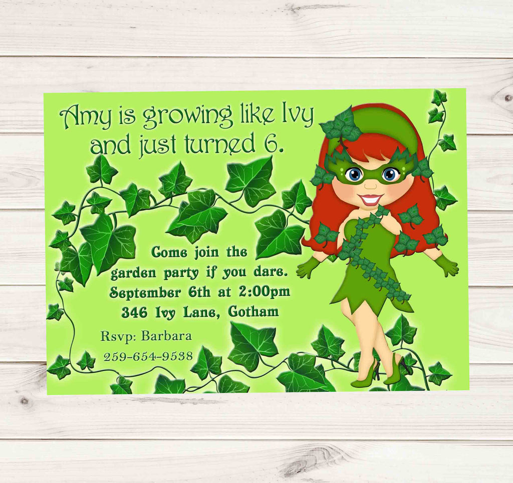 Poison Ivy Garden Party Birthday Invitation - Custom Printable