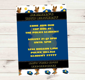 Police Office Dog Donation Birthday Party - Custom Printable