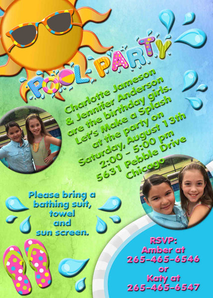 Pool Party Birthay Invitation with Photos and Water Splash Green Blue - Custom Order - Invites and Delites