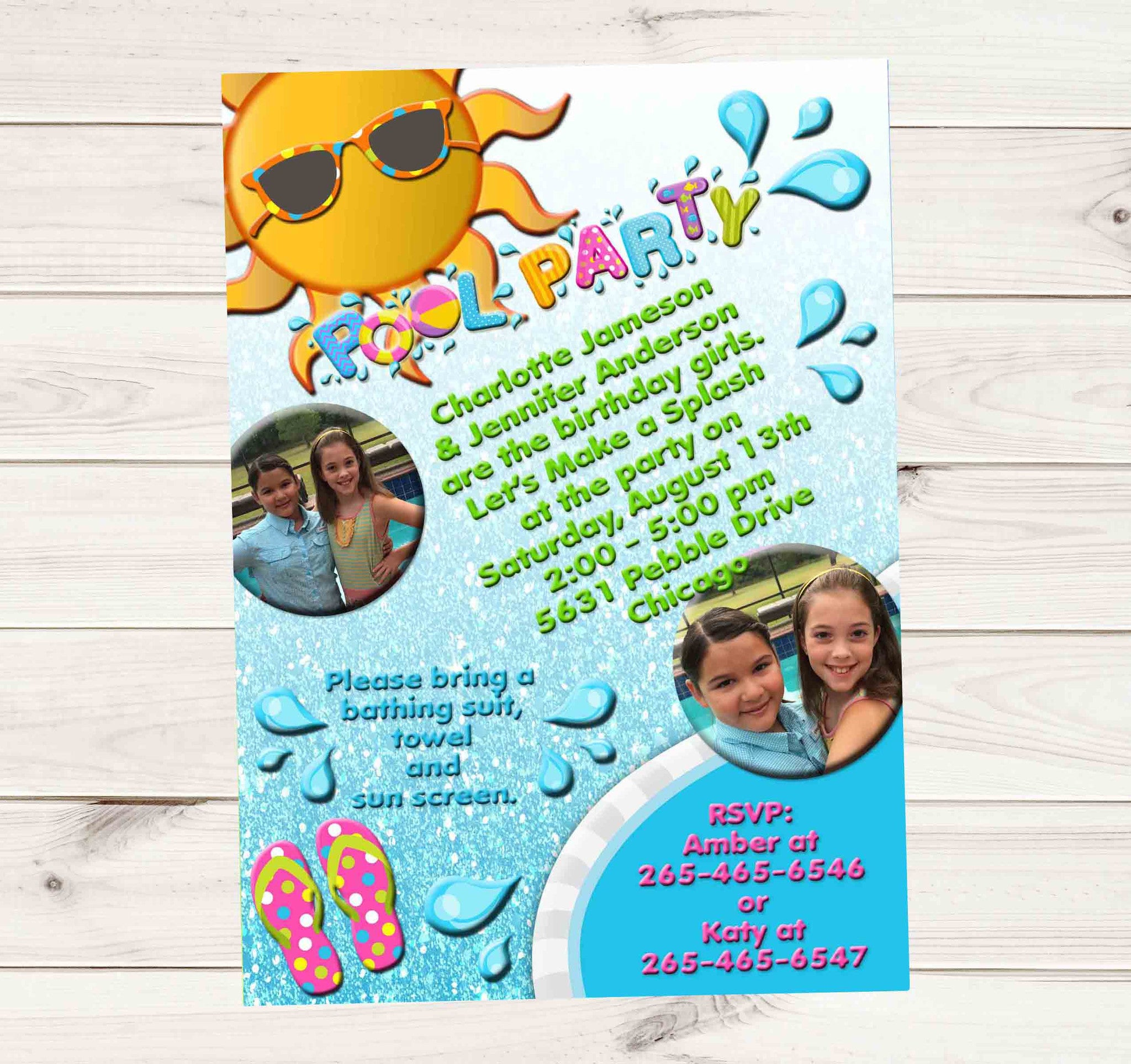 Pool Party Birthay Invitation with Photos and Water Splash Water Faded - Custom Order - Invites and Delites