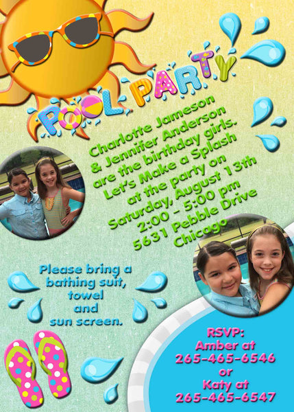 Pool Party Birthay Invitation with Photos and Water Splash Yellow Green - Custom Order - Invites and Delites