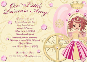 Pretty Pink Princess Diamonds and Coach Slumber Party Birthday Invitation - Custom Printable - Invites and Delites