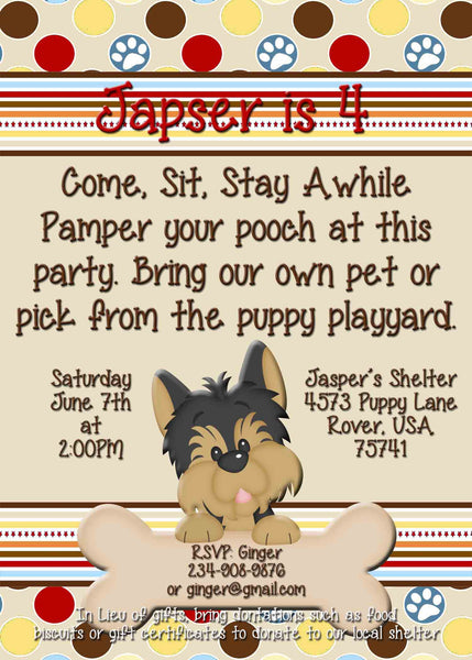 Puppy Dog Birthday Party Donation Invitation for Boys or Girls - Custom Order - Invites and Delites