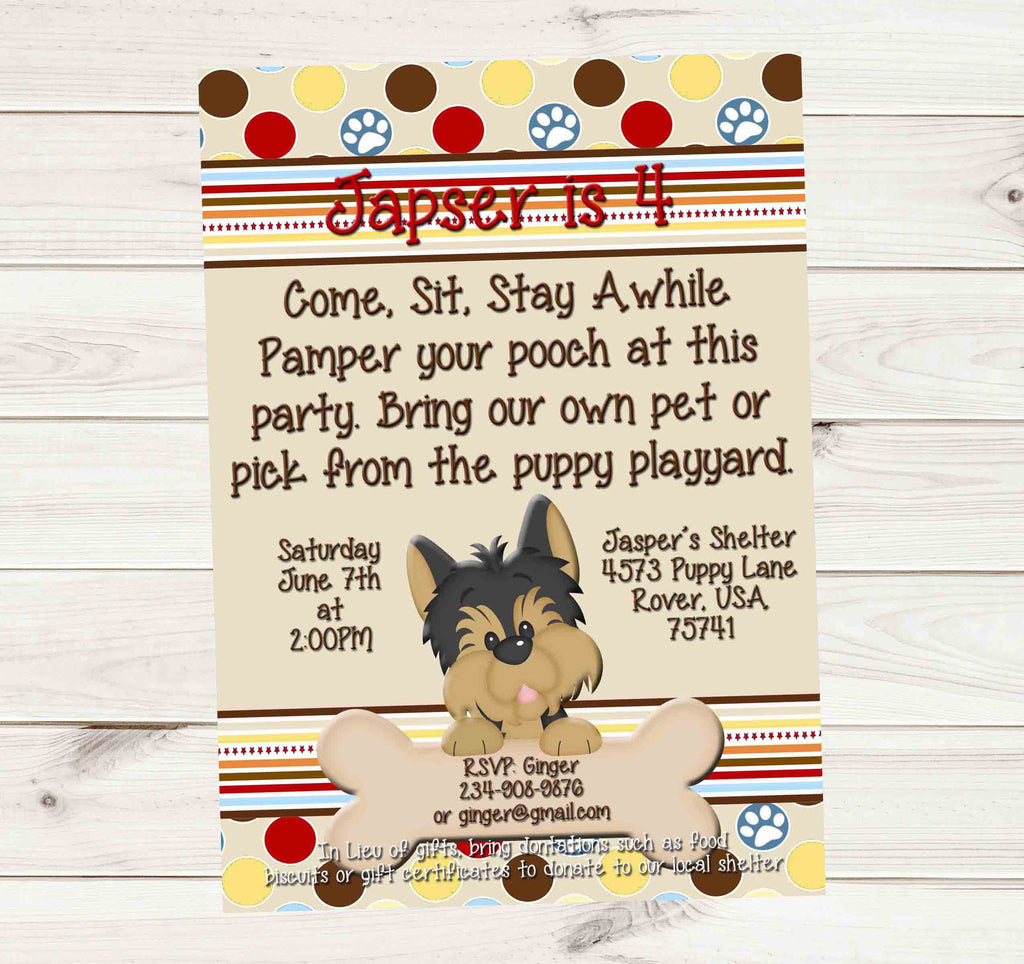 Puppy Dog Birthday Party Donation Invitation For Boys Or Girls