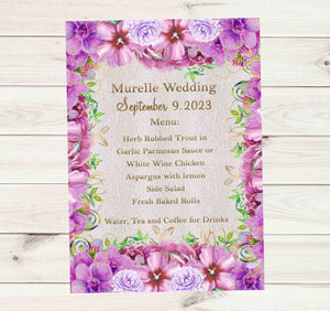Purple Flowers Elegant Wedding Menu Cards - Printed or File