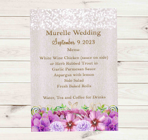 Purple Flowers Elegant Lights Wedding Menu Cards - Printed or File