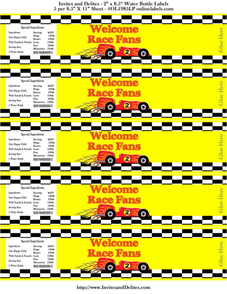 Race Cars Yellow Checkered Welcome Race Fans Birthday Water Bottle Labels - Instant Printable