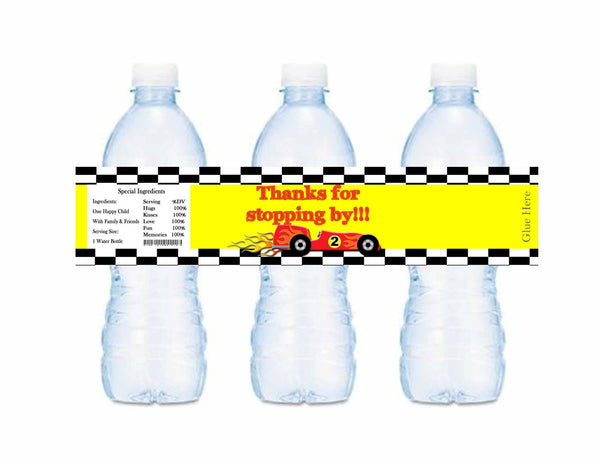 Race Cars Track Thank You For Stopping By Water Bottle Labels - Instant Printable - Invites and Delites