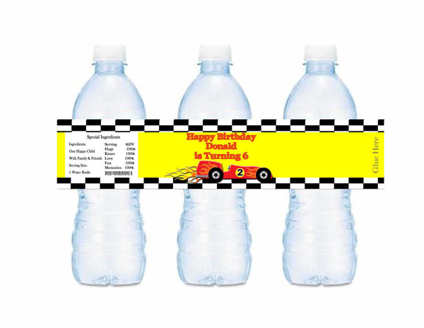 Race Track Cars Yellow Checkered Happy Birthday With Name Water Bottle Labels - Custom Printable - Invites and Delites