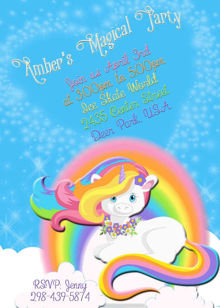 Magical Unicorn Rainbow Birthday Party Invite - Custom Order - Invites and Delites