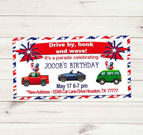 Patriotic Drive By Birthday Party Parade Facebook Invites