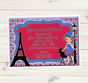 Paris Eiffel Tower Romantic Red Headed Girl Birthday Party Invitation - Custom Order - Invites and Delites
