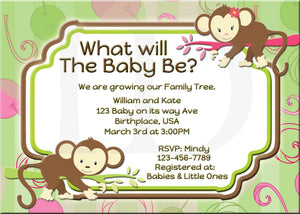 Monkey Baby Shower Gender Reveal Invitation - Custom File - Invites and Delites