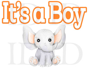 "Little Peanut Elephant Baby Shower Orange and Grey It's a Boy 8.5"" 11"" Centerpiece"