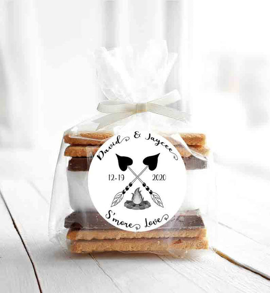 "Smore Love Arrows Campfire Wedding, Shower or Brunch Labels With A Date 2"" - Printed or File"
