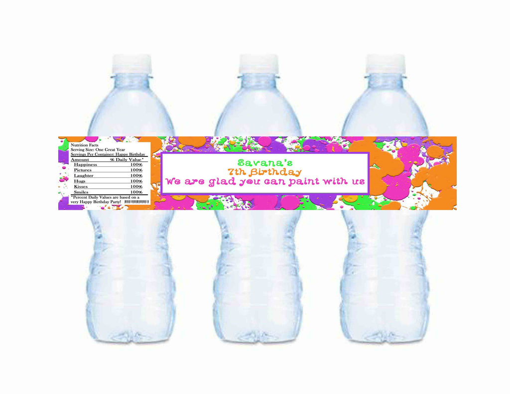 Splatter Paint Party Water Bottle Labels With Information - Custom Printable