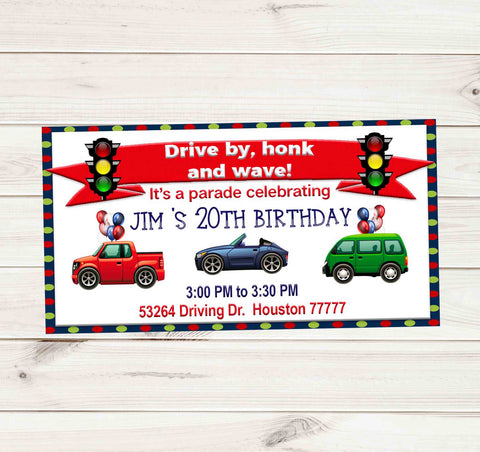 Stop Light Drive By Birthday Party Parade Facebook Invites