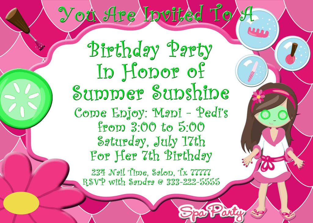 Spa Bus Primp and Polish Spa Party Girls Birthday Invitation - Custom  Printable - 4x6 / Jpeg / Front Only