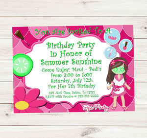 Spa Bus Primp and Polish Spa Party Girls Birthday Invitation - Custom Printable - Invites and Delites