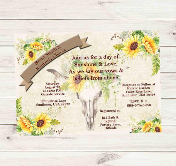 Sunflower Skull Rustic Elegant Chic Wedding Invitation  - Custom Printable - Invites and Delites