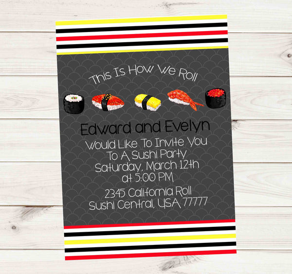Sake or Saki and Sushi Party Couple Invitation - Custom Printable
