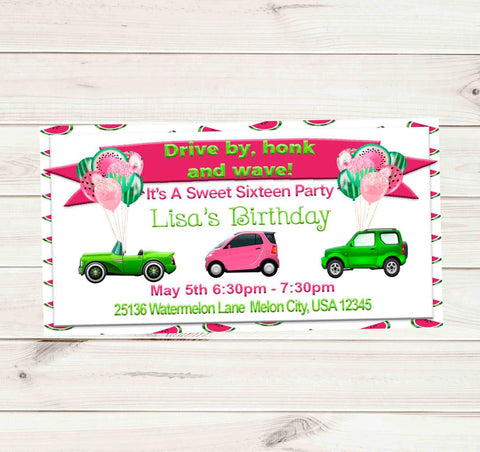 Sweet 16 Watermelon Car Drive By Birthday Party Parade Facebook Invites