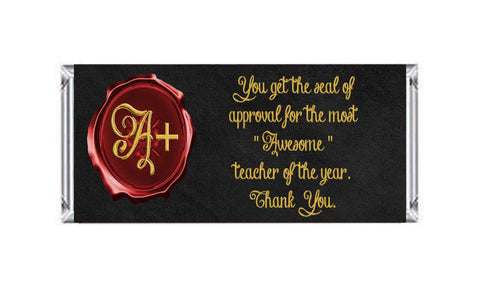 "Teacher Appreciation Seal of Approval Candy Bar 40g Labels approx 4.797"" x 5.48""- Instant Download - Invites and Delites"